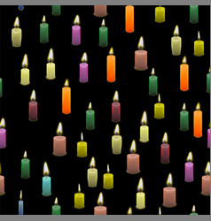 colored burning wax candles seamless pattern vector image