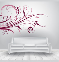 Room interior with sofa showing wall decal vector