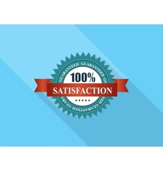 Satisfaction label with red ribbon vector