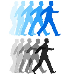 Business man walking forward action vector