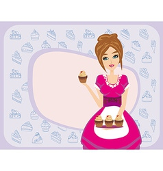 Housewife serving chocolate cupcakes vector