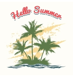 Handmade summer with palm trees vector