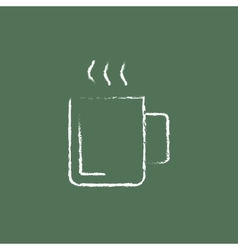 Mug of hot drink icon drawn in chalk vector