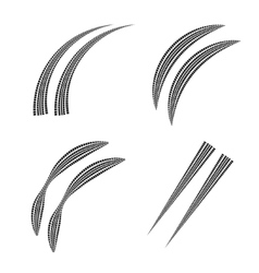 Tire track set vector