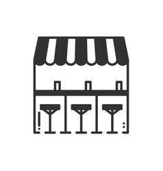 Bar counter with stools thin line icon street vector