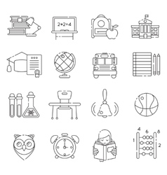 Basic Education Line Icon Set vector image