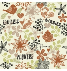 bird and floral pattern vector image