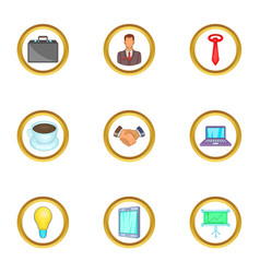 Business work icons set cartoon style vector