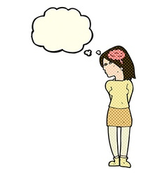 Cartoon brainy woman with thought bubble vector
