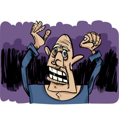 cartoon sketch of scared man vector image vector image
