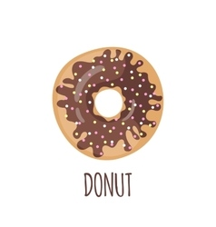 Chocolate donut on a white background vector image vector image