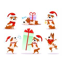 Christmas cartoon dog emoticons xmas puppy emoji vector