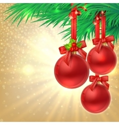 Christmas shine gold background with Red christmas vector image vector image