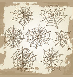 cobweb set on grunge vintage background vector image