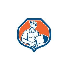 Delivery worker deliver package carton box retro vector