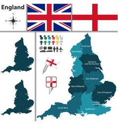 England map with regions vector