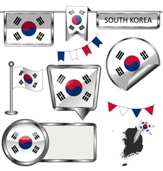 Glossy icons with South Korean flag vector image vector image