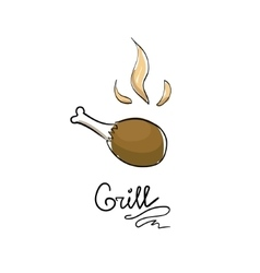 Grilled chicken leg vector image