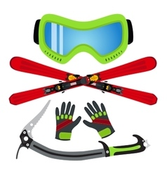 Ice sports set flat style - goggles ski gloves vector