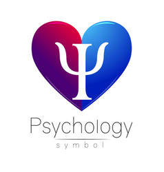 Modern heart sign of psychology letter psi vector