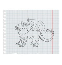 monster line art vector image vector image