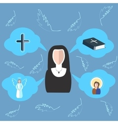 Nun cross bible angel icon clouds vector