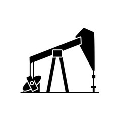 oil rig silhouette icon in flat style vector image