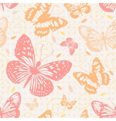 Seamless pattern with butterflies in neutral vector