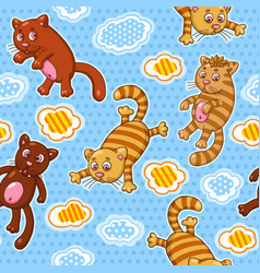 seamless pattern with funny cartoon cats vector image vector image