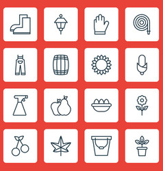 Set of 16 gardening icons includes helianthus vector