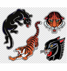 set of wild cat flash tattoo patches or elements vector image vector image