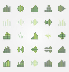 soundwave colorful icons set vector image