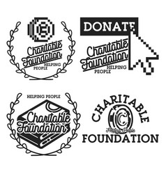 Vintage charitable foundation emblems vector