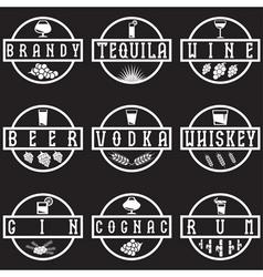 vintage labels set of alcohol drinks vector image