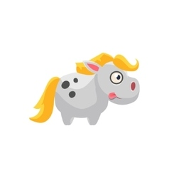 White horse simplified cute vector