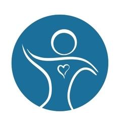 Person silhouette heart healthcare symbol vector