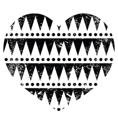Aztec tribal pattern heart - retro grunge style vector image