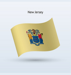 State of new jersey flag waving form vector
