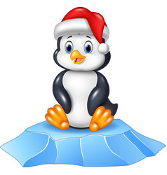 cute baby penguin sitting on ice floe vector image