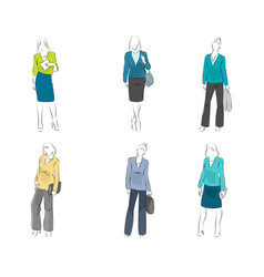 Six mannequin with casual outfit vector