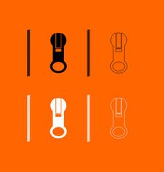 zipper black and white set icon vector image