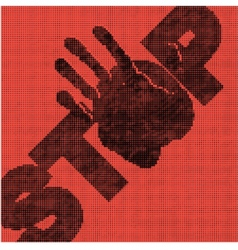 Hand brake in the halftone vector
