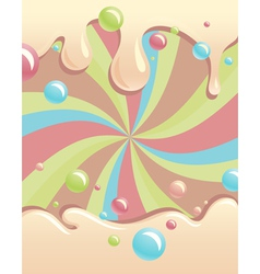 Background with flowing syrup and color bubbles vector