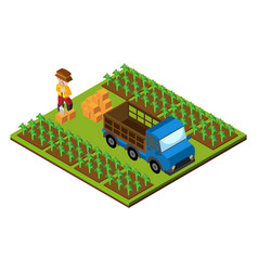 3d design for farmer and truck on farmyard vector image vector image