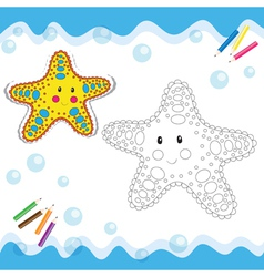Coloring book starfish vector