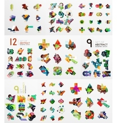 Set of abstract paper elements infographics vector