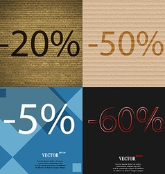 50 5 60 icon set of percent discount on abstract vector