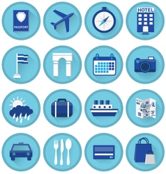 Blue tourism icons with shadow vector