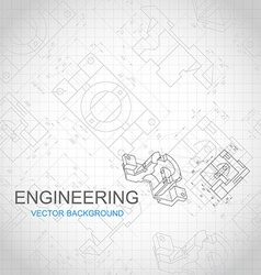 Engineering background with technical drawing vector