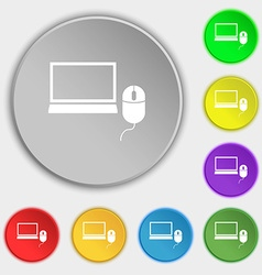 Computer widescreen monitor mouse sign icon vector
